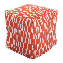 Majestic Home - Outdoor Salmon Sticks Small Cube - Versatile, casual and fun, beanbag ottoman cubes are great to have around the house for all kinds of impromptu uses, from footstools to extra seating to side tables. With it's playful modern style and durable, washable cover, this small patterned cube should work for you just about anywhere you need it, indoors or out. You'll wonder what you ever did without it.