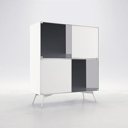 Christopher Highboard by ModLoft - The Christopher Highboard Buffet offers a graceful storage solution thanks to a 28-bottle wine compartment, three standard drawers, adjustable shelving and plenty of space for all of your dining accessories. Four doors finished in alternating matte lacquer and slate mirror combine with European push-open door hardware and angled powder coated legs for the embodiment of utility chic. Available in a two-tone matte lacquer finishes, including Asphalt exterior with Nile Blue interior or White exterior with Steeple Gray interior. Arrives assembled.