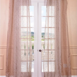 EFF - Zara Taupe Patterned Sheer Curtain Panel - Create an elegant ambiance to your windows with this beautifully designed sheer curtain panel. Featuring a geometric pattern is soft tones,this Zara taupe sheer panel will accent your living space with subtle sophistication.