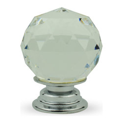 """Knob Lovers - Anna 1"""" Knob - Meet Anna, an exquisite clear cut crystal knob. Set upon a silver mount, Anna's classic globe shape will add simplistic beauty to your cabinets and drawers."""