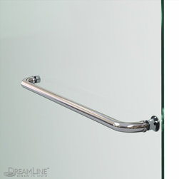 Aqua Uno Towel Bar - Chrome or Brushed Nickel hardware finish. Solid brass wall-to-glass hinges.