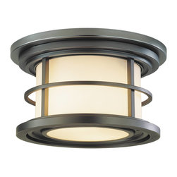 Murray Feiss - Murray Feiss Lighthouse Flush Mount Outdoor Lighting Fixture in Burnished Bronze - Shown in picture: Lighthouse Flushmount in Burnished Bronze finish with Opal etched glass