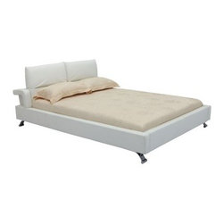 Bruno Platform Bed - White - Both beautiful and comfortable, the Bruno Platform Bed - White features a wood construction with white leather upholstery and chrome feet. Its headrest is adjustable, giving you the perfect angle to sit in bed and read.Dimensions:Queen: 97L x 79W x 33-38H inchesKing: 97L x 85W x 33-38H inchesAbout Whiteline:With a product line that includes prime leather sofas, comfortable beds, and elegant dining room furniture, Whiteline delivers modern and contemporary styles along with cozy comfort. Whiteline has 15 years of experience building furniture, along with a worldwide network of skilled manufacturers to help them give you the best value for your money. And their huge collection of designs is sure to have something to suit your contemporary tastes.