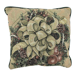 Manual - Christmas Bows of Gold Glitter Tapestry Throw Pillow 17 In. - This 17 inch woven tapestry throw pillow adds a wonderful Christmassy accent to your home. Titled 'Christmas Bows of Gold', the front of the pillow features a wreath of pine boughs, pine cones and berries, with a large ornate bow in the center. Shiny metallic gold threads run throughout the tapestry, giving the pillow a more elegant look and feel. The back of the pillow is 100% cotton, and is solid dark green. Each of these pillows is crafted with pride in the Blue Ridge Mountains of North Carolina, and is a quality accent to your home. This pillow makes a great gift and is sure to be admired.