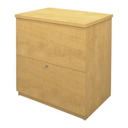 Bestar - Bestar 2 Drawer Lateral Wood File Storage Cabinet in Secret Maple - Bestar - Filing Cabinets - 656352175 - Classy yet simple the Bestar Lateral File is a beautiful addition to your office set. It features two file drawers and includes ball bearing slides. The Lateral File has a melamine finish for durability and easy lock system for safety.