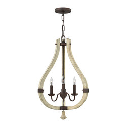 Frederick Ramond - Fredrick Ramond Middlefield 3-Light Foyer - Middlefield's rustic chic design captures a historical feel with its solid distressed wood and steel construction. A pear-shaped wood finial adds an additional elegant detail and may be hung inside or outside the frame.