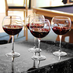 Grandin Road - Set of Four Personalized Red Wine Glasses - Classic red wine glasses, monogrammed to your taste. Round, wide bowl and slim stem crafted from clear, handblown glass. Due to its handmade nature, glass may exhibit small bubbles. Engraving with a single, uppercase block initial included; style of engraving as shown. 19 oz. capacity, each. Entertain with extra elegance or lift the spirits of your favorite wine connoisseur with a personalized gift: engraved Red Wine Glasses. Each is crafted from handblown glass with a classic wide, round bowl that's perfect for opening up the flavor of your favorite red varietal. Engrave each glass with a single monogram; personalization is included.. . . . . Made in the USA. Personalized items are not returnable.