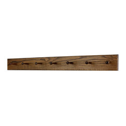 "PegandRail - Solid Oak Shaker Peg Rack 4.5"" Extra Wide - Hand Crafted in the USA, Walnut, 41"" - Made in The USA"