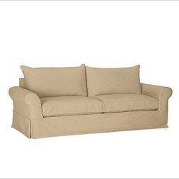 PB Comfort Roll-Arm Grand Sofa with Knife-Edge Cushion Slipcover, Textured Baske - Designed exclusively for our versatile PB Comfort Grand Collection, these soft, inviting slipcovers retain their smooth fit and remove easily for cleaning. Grand Armchair with Box Back Cushions shown. Care varies depending on {{link path='pages/popups/fab_leather_popup.html' class='popup' width='720' height='800'}}fabric type{{/link}}. This item can also be customized with your choice of over 90 custom fabrics and colors. For details and pricing on custom fabrics, please call us at 800.840.3658 or click Live Help above. All slipcover fabrics are hand selected for softness, quality and durability. This is a special-order item and ships directly from the manufacturer. To see fabrics available for Quick Ship and to view our order and return policy, click on the Shipping Info tab above. Watch a video about our exclusive {{link path='/stylehouse/videos/videos/pbq_v36_rel.html?cm_sp=Video_PIP-_-PBQUALITY-_-SUTTER_STREET' class='popup' width='950' height='300'}}North Carolina Furniture Workshop{{/link}}.