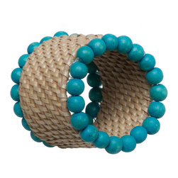 Kouboo - Rattan Napkin Rings with Wood Beads, Set of 4 - Keep your napkins in the round with these boho chic rings. Each is made of handwoven rattan that's decorated with wood beads in a turquoise hue for a pop of brilliant color.