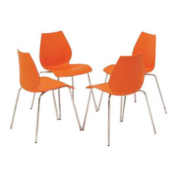 Kartell - Maui Side Chair, Set of 2, Matte Orange - Here's a chair that's by your side when you need it and neatly stacked away when you don't. Perfect extra seating for the dining room, the classroom, around the conference table, you name it, this versatile chair has elegant lines and comes in a variety of colors to suit your style or your space. The gently flared polypropylene seat is attached to a light, chrome-plated steel structure that stands up (and stacks up) beautifully.