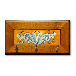 Artistica - Hand Made in Italy - DERUTA VARIO: Keys holder with wood frame - DERUTA VARIO Collection: Over 500 years of artistic heritage has produced a multitude of ceramic artists in the Italian town of Deruta.