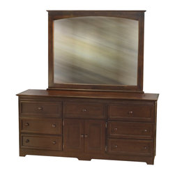 Atlantic Furniture - Atlantic Furniture Manhattan Dresser and Mirror Set in Walnut - Atlantic Furniture - Dressers - 7176471004PKG