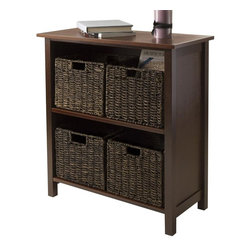 Winsome Wood - 2-Section Shelf Unit - Includes four foldable baskets. Perfect to storage and organized goodies. Made from composite wood and corn husk. Walnut and chocolate finish. Assembly required. Open basket: 11.02 in. W x 10.24 in. D x 9.06 in. H. Folded basket: 19.88 in. W x 9.45 in. D x 2.36 in. H. Storage unit: 28 in. W x 13 in. D x 30 in. H