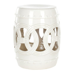 Safavieh - Safavieh White Ceramic Double Coil Stool X-C0054SCA - Indoors or out, this classic Chinese garden stool design lends a touch of Feng Shui serenity.   Inspired by the Asian linked coin motif believed to bring good luck, our Double Coin stool is lustrous in creamy white high fired ceramic.