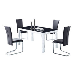Globval Furniture USA - D8055DT + D457DC Black & White Lacquer With Vinyl Five Piece Dining Set - This dining set offers both formal and contemporary qualities that will add a modern touch to any decor. This set will match perfectly with most color schemes, given its black and white colors. The dining table is a rectangular shape and features a dark glass top. The chairs in this set feature low backs with a black Leatherette. Each chair is supported by sturdy metal legs that match the general style of the set. With this sets modern style, add a wonderful set to your dining room. The dining set includes the dining table and four chairs only.