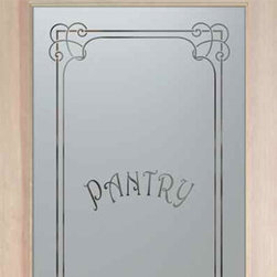 """Pantry Door - Enna Harrington - CUSTOMIZE YOUR GLASS PANTRY DOOR!  Pantry Doors shipping is just $99 to most states, $159 to some East coast regions, custom packed and fully insured with a 1-4 day transit time.  Available any size, as pantry door glass insert only or pre-installed in a door frame, with 8 wood types available.  ETA for pantry doors will vary from 3-8 weeks depending on glass & door type.........Block the view, but brighten the look with a beautiful obscure, decorative glass pantry door by Sans Soucie!   Select from dozens of frosted glass designs, borders and letter styles!   Sans Soucie creates their pantry door obscure glass designs thru sandblasting the glass in different ways which create not only different effects, but different levels in price.  Choose from the highest quality and largest selection of frosted glass pantry doors available anywhere!   The """"same design, done different"""" - with no limit to design, there's something for every decor, regardless of style.  Inside our fun, easy to use online Glass and Door Designer at sanssoucie.com, you'll get instant pricing on everything as YOU customize your door and the glass, just the way YOU want it, to compliment and coordinate with your decor.  When you're all finished designing, you can place your order right there online!  Glass and doors ship worldwide, custom packed in-house, fully insured via UPS Freight.   Glass is sandblast frosted or etched and pantry door designs are available in 3 effects:   Solid frost, 2D surface etched or 3D carved. Visit or site to learn more!"""