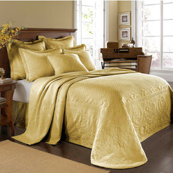 Historic Charleston Collection - King Charles Matelasse Sunshine Twin Bedspread-Only - - Steeped in Historic Charleston?s rich, classic style and decorative arts culture, the King Charles 100% cotton matelass� bedding collection offers a unique blend of European, Caribbean, and Asian influences.   - King Charles matelass� bedding offers a luxuriously soft bedspread, coverlet, bed skirt, shams and decorative accent pillows featuring classic 19th century motifs representing the sun, a topiary, a pheasant, and a pineapple.   - The superior design of the King Charles matelass� bedding ensemble can be traced back to England circa 1820, incorporating key influences from that time period including the fine arts and superior craftmanship.   - Each piece is crafted individually on special weaving looms to create the luxurious design that defines this lovely matelass� bedding collection.   - Highs and lows created during the jacquard weaving process allow the intricate designs and motifs to come to life.   - Designs from the archives of Historic Charleston?s heritage, were interpreted to create the lovely King Charles bedding set.   - Rolling arches, half-moons, double diamonds and scrolling vine details wrap around the classic topiary, pheasant, sun and pineapple motifs.   - Coverlet and bedspread drape beautifully over the bed to reveal rounded corners.   - Pair the bedspread or coverlet with bed skirt to create a complete look.   - Add coordinating, decorative shams and pillows to create the ultimate bedroom oasis.   - The heavy-weight, stonewashed matelass� of King Charles bedding ensures life-long durability and style for generations to come.   - Twin bedspread measures 80W x 112L.   - Crafted in Portugal.   - Stone-Washed.   - 100% cotton matelass�.   - The Historic Charleston Foundation was established in 1947 and is a nonprofit organization whose mission is to preserve and protect the historical, architectural and material culture that make up Charleston?s rich and irreplaceable heritage.   - Twin bedspread only, all other coordinating pieces sold separately.   - No decorative objects included. Historic Charleston Collection - 11182TWINBDSSH