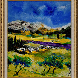 overstockArt.com - Ledent - Provence 452121 - Provence 452121 is a canvas print of a colorful modern Ledent painting of a french Provence landscape. Originally oil on canvas stretched on a wooden frame size 15,7 x 19,7 inches. Pol Ledent was born in 1952 in Belgium. He came to painting in 1989. He started with watercolor but felt rapidly that oil painting would match his way of being. He is a self-taught painter . Nevertheless he took some drawing lessons in a Belgian academy. After taking part into numerous group exhibitions, some galleries in Belgium proposed to him to exhibit his works. Dinant, Bouillon, Brussels , Paris and Moscow in October 2006.