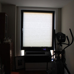 Fred In Downtown Brooklyn Solar Shades and Honeycomb - In the gym, honeycomb in Olive 3268 with grand cell light filtering and cordless lift.