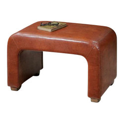 Uttermost Pennie Leather Bench - Sturdy bench made from hardwood solids and structural plywood, featuring double-stitched, copper-chestnut faux leather accented with weathered pecan finished feet. Sturdy bench made from hardwood solids and structural plywood, featuring double-stitched, copper-chestnut faux leather accented with weathered pecan finished feet.