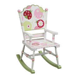 "Guidecraft - Lambs & Ivy Sweetie Pie Rocker - Hardwood rocking cams, 14"" seat height. 17""W x 22.5""D x 31""HLady bugs, dragonflies and other decorative elements playfully enhance the Sweetie Pie Collection. Hand-carved, hand-painted details and turned hardwood legs and posts make this Lambs & Ivy series the perfect collection for a bedroom or playroom. Adult assembly required. Ages 3+. A licensed Lambs & Ivy collection."