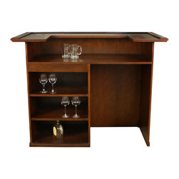 American Heritage - American Heritage Trenton Bar in Suede - The Trenton bar with its raised decorative panels in a brilliant walnut finish makes a wonderful addition for entertaining in your home. Open shelving and a mini refrigerator/wine cooler port give this bar form and function. Everything you need to entertain is right at your fingertips.