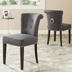 Safavieh Ellie Ring Dining Chairs - Gray - Set of 2 - The Safavieh Ellie Ring Dining Chairs - Gray - Set of 2 is a timeless piece, beautifully crafted with graceful curves. This set of two is constructed of solid birch wood in an espresso finish with a grey polyester fabric seat. Its individual nickel nail trim and a decorative nickel handle are sure to match any decor. A deep seat and concave curved back make this one of the most comfortable chairs around.About SafaviehSafavieh is a leading manufacturer and importer of fine rugs. Established in 1914 in the capital of Persian weaving masters, the company today brings three generations of knowledge and experience to its award-winning collections. In the United States since 1978, Safavieh has been a pioneer in the creation of high-quality hand-made rugs, a trend that revolutionized the rug business in America. Its collections range from the finest antique and historical reproductions to the most fashion-forward contemporary and designer rugs.