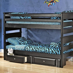 Chelsea Home - 78 in. Twin Over Twin Bunk Bed - NOTE: ivgStores DOES NOT offer assembly on loft beds or bunk beds.. Includes slat packs and storage drawers. Mattresses not included. Rustic style. Trend-loc ends for added strength. 4 in. lag blots are utilized to assemble parts with a recessed end for safety. Drawers have a center mounted metal kenlin drawer glide system with solid pine fronts. Exceed the ASTM standard consumer safety specifications. Can holds up to 400 lbs. of distributed weight. Rounded edges for strong and safe youth furniture with Baltic birch plywood filler panels for a smooth feel and finish. Warranty: One year. Made from solid ponderosa pine wood. Black cherry finish. Made in USA. Assembly required. 78 in. L x 45 in. W x 61.5 in. H (260 lbs.). Bunk Bed Warning. Please read before purchase.Warning: Falling hazard, bunk beds should be used by children 6 years of age and older!