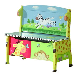 Teamson Design - Teamson Kids Sunny Safari Hand Painted Kids Storage Bench - Teamson Design - Kids Chairs - W8267A2. A New way to store everything around this storage bench has life painted all over. This item will bring light and life to any room!