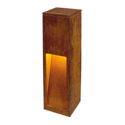 SLV Lighting - SLV Lighting Rusty Slot 50 Outdoor Luminaire - The Rusty Slot 50 is an outdoor floor luminaire designed in Germany. The idea behind this lamp was to connect the natural aspect of a controlled surface rusting with modern energy saving technology in a very strong light fixture. Lamps are made of FeCSi-steel cast steel and are extremely weather proof. In the outdoor application the special steel alloy forms a special barrier layer of iron oxide (rust), which protects the material core from infiltration of dampness and thereby protecting it from further rusting. The flaking of the rust is prevented. Individual deviations in form and surface are intended with the Quenby lamps.  Product Details: The Rusty Slot 50 is an outdoor floor luminaire designed in Germany. The idea behind this lamp was to connect the natural aspect of a controlled surface rusting with modern energy saving technology in a very strong light fixture. Lamps are made of FeCSi-steel cast steel and are extremely weather proof. In the outdoor application the special steel alloy forms a special barrier layer of iron oxide (rust), which protects the material core from infiltration of dampness and thereby protecting it from further rusting. The flaking of the rust is prevented. Individual deviations in form and surface are intended with the Quenby lamps.  With the appearance of the Quenby lamps recreates harbour bollards. Each unit is unique.  Note: Optional connection box 3 pole IP68 (228730U) available in Lighting accessory category. Details:                                     Dimensions:                                     Height Max: 19.7 in (50.03 cm) x Width max: 4.7 in (11.93 cm)                                                     Light bulb:                                     1 x 11W E26 Self ballasted CFL (excl.)                                                     Material:                                     FeCSi-steel                         ETL - listed certified for use in U.S., Canada and all other countries worldwide.