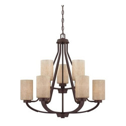 Savoy House - 9 Light 2 Tier Chandelier Berkley Collection - Savoy House 1-5434-9 Berkley 9 Light 2 Tier ChandelierWith its rich Heritage Bronze finish, hammered details, and Hand painted Cream glass, this nine light two tier chandelier is perfect for today's casual lifestyle. A signature piece from the Berkley collection, this piece will add warmth to your home with its warm transitional styling. Berkley will add warmth to your home with its warm transitional styling. This stylish collection has a rich Heritage Bronze finish, hammered details, and Hand painted Cream glass, making it perfect for today's casual lifestyle.Savoy House 1-5434-9 Features: