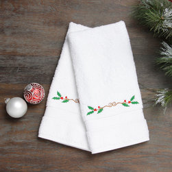 None - Embroidered Holly Holiday Turkish Cotton Hand Towels (Set of 2) - Authentic plush hotel and spa hand towels are made from high end Turkish cotton and embroidered with a Christmas holly design. These Turkish cotton hand towels are made for luxury hotels and spas and become softer and more absorbent with every wash.