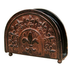 Old Dutch International - Versailles Napkin Holder - Whether your napkins are paper or linen, this organizer is pretty enough to keep them in plain sight ... on the table where you need them. Each is handcrafted, copper finish over steel with fleur de lis design.