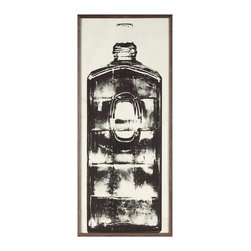 Kathy Kuo Home - Copper River Industrial Loft Bottle Black White Photo Wall Art - C - Framed - Put a cork in it. Aged to perfection, this piece of artwork is a must-have for your collection. The grainy photo's subject matter is a bottle dating back 200 to 300 years that was discovered in Alaska. Perfect anywhere, but especially cool in an industrial loft or contemporary space.