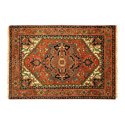 Manhattan Rugs - New HQ Wool Heriz Hand Knotted 4x6 Serapi Red Veg Dyed Free-Pad Floral Rug H5848 - Heriz is situated in the northwestern part of Iran (Persia).  Though the term covers Hand knotted rugs of numerous small villages in the area, the most beautiful Rugs were woven in Heriz itself For the last 100 years, the Heriz carpet designs have basically remained the same, with only small variations in color pallets and density of the design. The late 19th Century Rug (so called Serapis) was of fewer details and softer colors and with time designs became denser with added jewel tone color pallets. The revival of the carpet industry in the late 19th Century was based on the demand of the Western markets, with America in particular. Weavers in Heriz hand knotted were asked to make carpets inspired by the Fereghan Sarouks of higher cost for consumers of more limited budgets. Even though Sarouk carpets changed style later on, Heriz weavers stayed with the geometric pattern till now.  However, Heriz was also a center of production of some of the best handmade carpets with both geometric and curvilinear floral patterns.  A special heirloom wash produces the subtle color variations that give rugs their distinctive antique look.