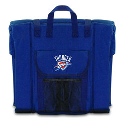 Picnic Time - Oklahoma City Thunder Stadium Seat in Navy - The Stadium Seat is ideal for anyone who enjoys sporting events, concerts, or other arena activities. This padded seat is made of durable 600D polyester and provides maximum seat support, which is especially useful when sitting on hard bleacher seats or benches. EPE foam in the seat's core also insulates your seat from cold bleachers. A large zippered pocket keeps all of your essentials within reach. Convenient carry straps allows the seat to be carried as a folded tote. You'll want to take the Stadium Seat to every spectator event to ensure your seating comfort.; Decoration: Digital Print
