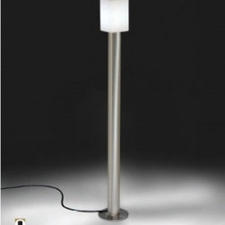 "Alma Light - Tiny 3371-016 Outdoor Lamp - Product Details:    The Tiny 3371 Outdoor Lamp was designed by Novell+Puig for ALMA LIGHT. This version of the Tiny outdoor has a structure of brass satin nickel finished. Uses an E27 lampholder that can lodge an electonic energy saver lamp up to 20W. The execution of the designed is the cleanest possible and thus the fixation of the tube to the ground is done using screws that are lodged inside the light, totally hidden.  This collection is composed by three shades of simple geometric form (round, triangular and squared) designed so that they maintain a same formal value, made in rotomoulded polythene and mounted on a cylindrical satin stainless steel base. Each shades takes a flat stainless steel plate covering the upper part of the screen to avoid luminance contamination.     Details:                                              Manufacturer:                                          Alma Light                                                              Designer:                                          Novell+Puig                                                              Made in:                                          Spain                                                              Dimensions:                                          Height Max: 43"" (110 cm) X Width: 6"" (15 cm)                                                              Light bulb:                                          1 X 20W E27 Compact fluorescent                                                              Material:                            Rotomoulded polythene"
