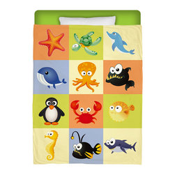 """Surfer Bedding - Eco Friendly Made In USA """"Beach Animals"""" Premium Twin Duvet Cover - """"Beach Animals"""" Surfer Bedding from our Beach Bedding and Beach Bath Collection Is Premium Quality and Made In The USA!"""