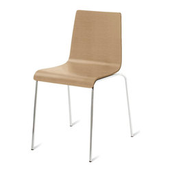 "Blu Dot - ""Blu Dot Chair Chair, Technical White Oak"" - ""An unassuming take on the everyday side chair - good proportions, nice materials and a great price. Choose from black and chocolate leather alternative. Stackable. Enjoy. Enjoy."""