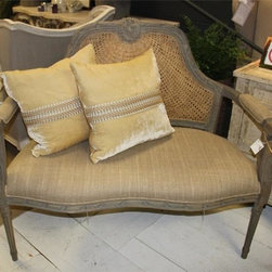 Burlap Settee with Wicker Inset- Austin - This settee has a grey wash that is accented with the wicker back. It would be perfect for an entry way, or even a master bedroom. Search for this exquisite piece at Red Chair Market.