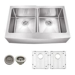 Schon - Schon 16 Gauge 32 7/8 x 20  x 10 D Apron Sink - SCAP505016 16 Gauge Schon Undermount Sink Stainless Steel Apron Front 50/50 32 7/8 x 20 (21-1/4 to fron center of Apron), Grids, Strainers