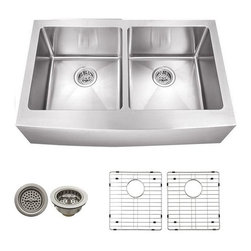 Schon - Schon 16 Gauge 32 7/8 x 20  x 10 D Apron Sink - SCAP505016 16 Gauge Schon Undermount Sink Stainless Steel Apron Front 50/50 32 7/8 x 20 (21-1/4 to fron center of Apron), Grids, Strainers