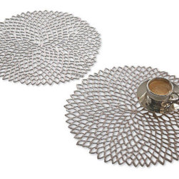 Dahlia Placemats - I like these placemats because they're stylish and contemporary AND easy to take care of. The cutout form of a dahlia in gunmetal gray has an organic, yet at the same time metallic look to it.