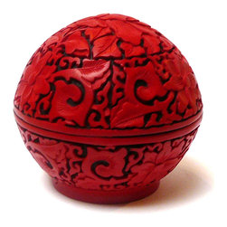 Chinese Red Lacquer Flower Carving Trinket Box - This is a product of oriental lacquer art in modern design and usage. It is an easy accent to the room.