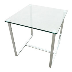 Allan Copley Designs - Allan Copley Designs Edwin Square End Table w/ Glass Top on Chrome Plated Base - The Edwin Collection by Allan Copley Designs will add a fresh  chic modern twist to your living room. The Polished Chrome Plated Table Base with Glass Top provide a clean  distinguished and refined addition to your home's décor. The Edwin Collection includes Rectangular Cocktail  Square End and Console Table