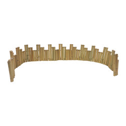 "Master Garden Products - Unlevel Regular Bamboo Edging, 96"" wide - These self- standing bamboo edgings are great as accents in your garden. These are made of 1.5 diameter bamboo poles for visual enhancement. It is flexible and can be bent to different shapes, such as a circle. The top of the poles are cut just above the notch so water will not accumulate in the bamboo poles. The bamboo is drilled and strung together using heavy galvanized wire but designed in a way so that no wire is visible. Comes in rolled form so it is flexible and very easy to install."