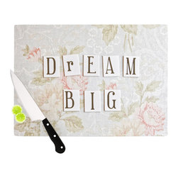 "Kess InHouse - Debbra Obertanec ""Dream Big"" Quote Floral Cutting Board (11"" x 7.5"") - These sturdy tempered glass cutting boards will make everything you chop look like a Dutch painting. Perfect the art of cooking with your KESS InHouse unique art cutting board. Go for patterns or painted, either way this non-skid, dishwasher safe cutting board is perfect for preparing any artistic dinner or serving. Cut, chop, serve or frame, all of these unique cutting boards are gorgeous."