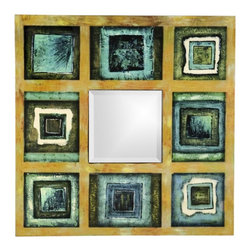 Howard Elliott - Harmony Square Turquoise and Light Blue Mirror - Our Harmony Mirror comes in this squared shape and features Turquoise, Sage, & Light Blues Lacquer Frame.