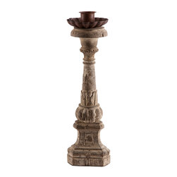 Kathy Kuo Home - Pair Asti Aged Carved Wood Vintage French Candleholders - Solid wood spun and carved by hand. Heavy distressing is created by removing layers and layers of paint to create the aged patina. Topped off with a rusted metal drip plate for tapered candle.  Price marked is for a pair.